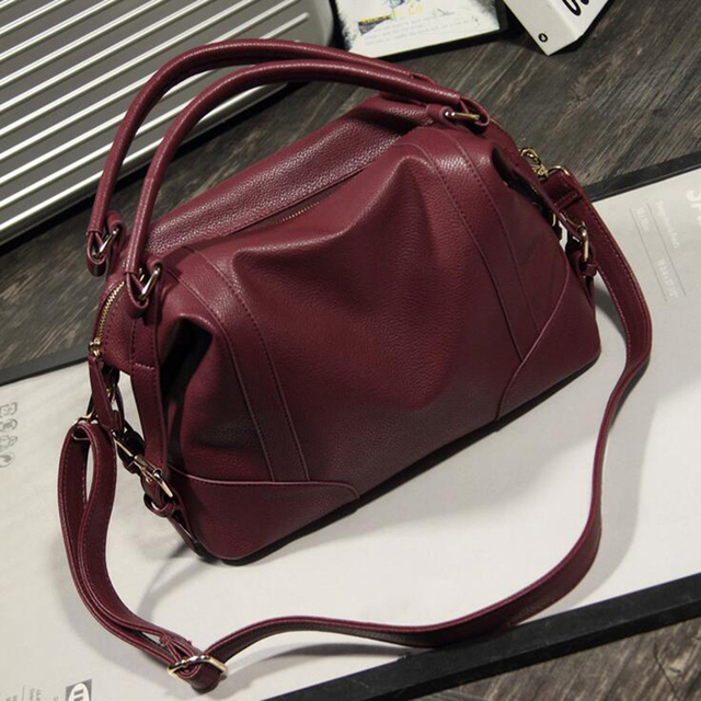 3b318ca989 Loshaka Women Fashion Soft PU Leather Handbag Lichi Pattern Female Casual  Solid Boston Shoulder Bag Classic