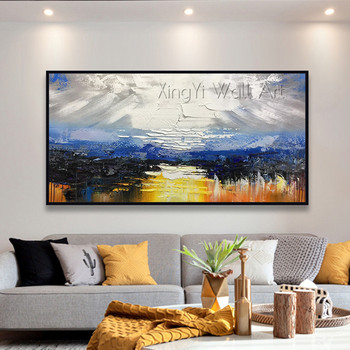 Abstract painting on canvas gold acrylic wall art pictures for living room home wall decor original texture quadros caudro decor
