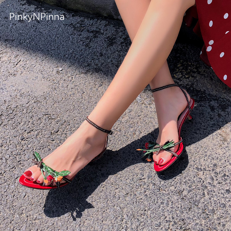 fashion women sandals black red genuine leather bouquet flowers thin strap kitten heels open toe runway style dress summer shoes in High Heels from Shoes