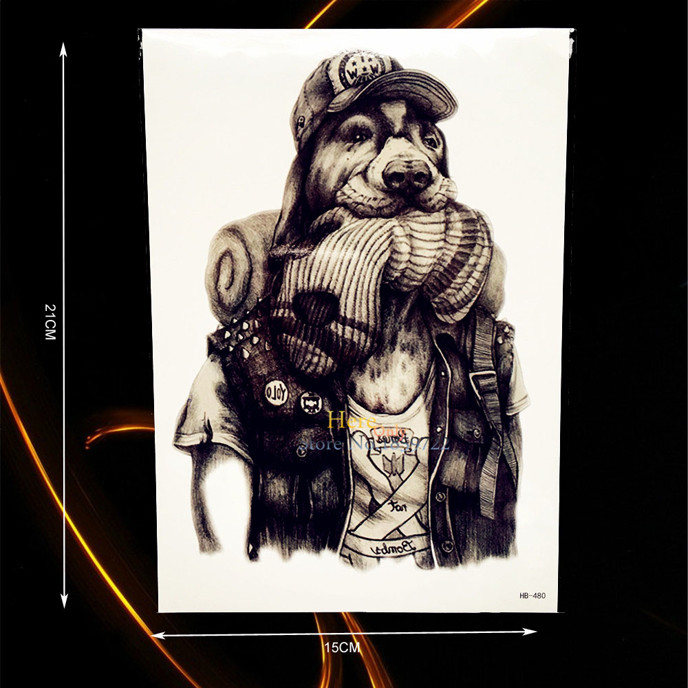 1PC Waterproof Body Art Animal Printed Tattoo Hip Hop Rap Dog Man Design Temporary Tattoo Sticker Shoulder Arm Tatoo Sleeve B480