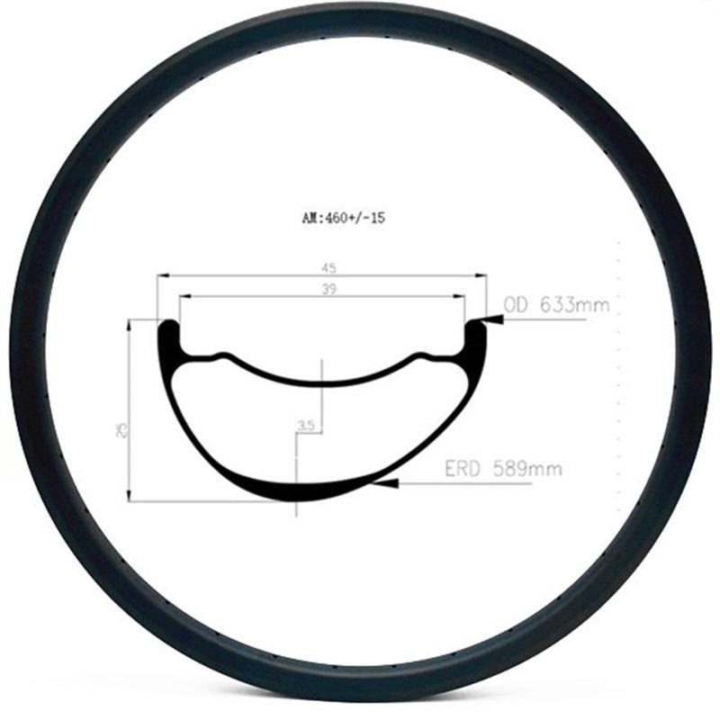 Graphene 29er carbon mtb rims disc tubeless hookless 45x25mm asymmetry carbon rim mtb disc bicycle rims AM 460g|Rims|   - title=
