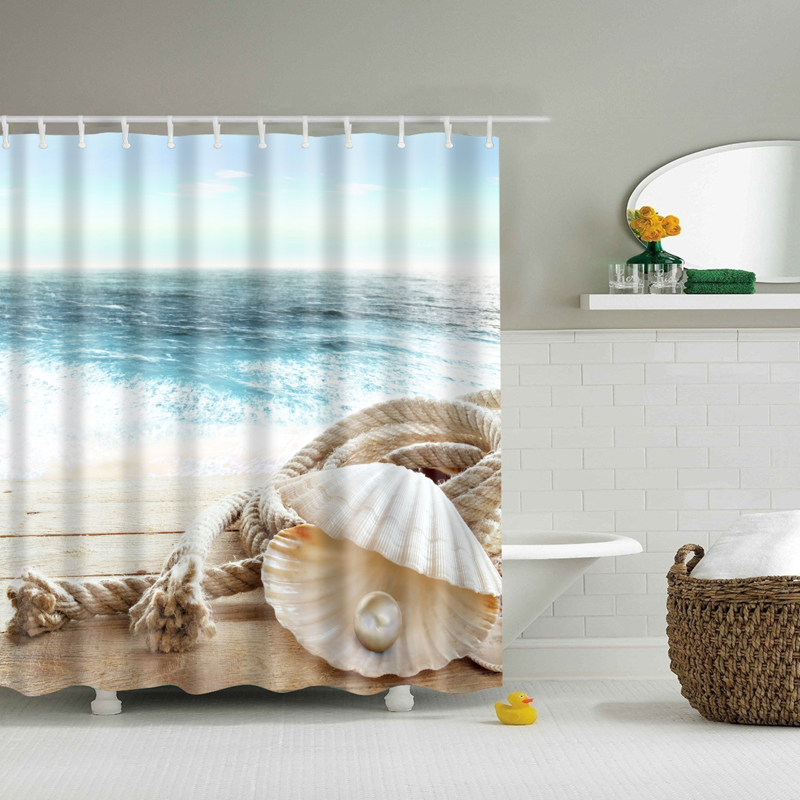 shower curtain beach polyester waterproof cortina de ducha 3D shell starfish printed bathroom shower curtains