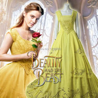 Princess Belle Fancy Dress 2017 Movie Beauty and the Beast Cosplay Costume Adult Women Yellow Clothes Halloween Party