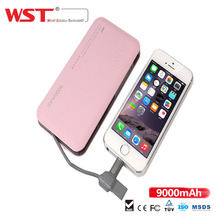 9000mAh Power Bank Li-polymer Quick Charge External Battery Pack Built-in Cable Portable Battery Charger Pack