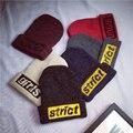 HT565 Корея Вышивка Письма Женщины Шапочки Теплая Зима Шерстяная Шапочка Шляпы Мода Наручниками Вязаные Шапки для Зимы gorros ланы