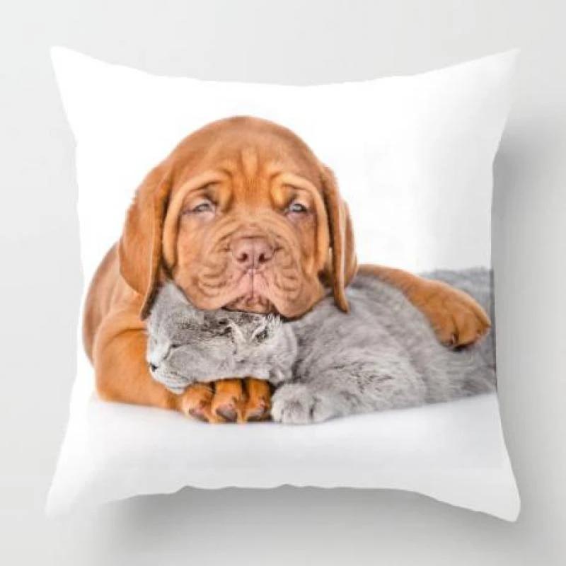 lovely baby dog cat pet pillow love kiss friendly hug me sleeping pug puppy play cute animal plush fabric cushion for kids gift