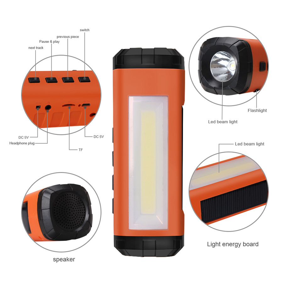 AIDISITE Günəş Bluetooth Dinamik Simsiz LED Fənər Portativ - Portativ audio və video - Fotoqrafiya 5