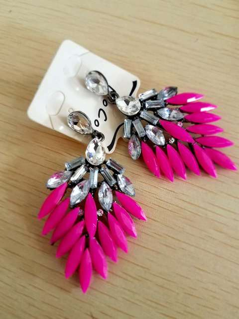 2013 New Fashion Rose Red Crystal Leaf Drop Earrings Fashion Jewelry For Women Free Shipping