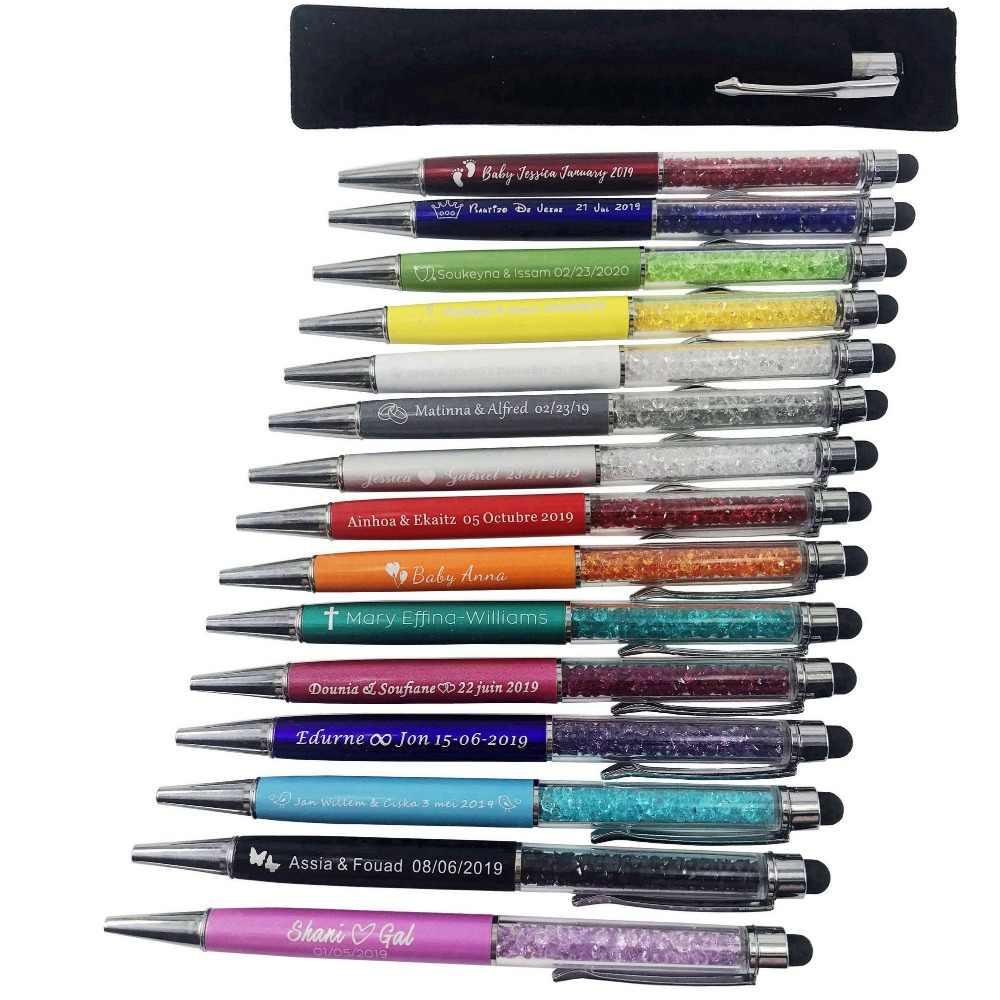 50 Stuks Gegraveerde Crystal Diamond Stylus Pen Balpennen Touch Pen Gepersonaliseerde Bruiloft Gunst Customalized Relatiegeschenken