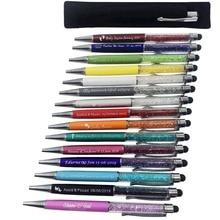 Bolígrafo grabado de cristal con diamantes, táctil, recuerdo personalizado de boda, regalos promocionales, 50 unidades