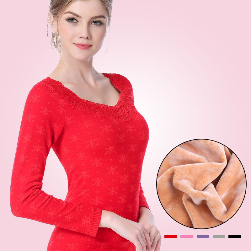 Seamless Square Thermal Underwear Women Collar Sweater Dress Autumn Winter Warm Colors Female Thermos Long Johns Velvet Ladies
