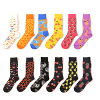 PEONFLY 12 pairs /lot Combine Cherry Pineapple Fruits Decorative Pattern Happy Socks Men Ancient Ways Nation Series Hip Hop