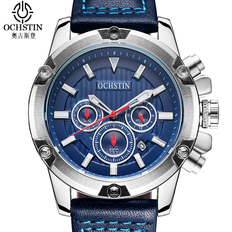 OCHSTIN Chronograph Sport Watch Men Multifunction Big Dial Clock Men Watches Waterproof Quartz Wrist Watch Business Reloj Hombre