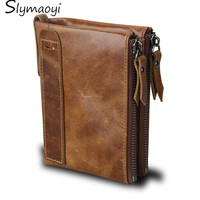 Slymaoyi 2017 Genuine Crazy Horse Leather Men Wallet Short Coin Purse Small Vintage Wallets Brand High