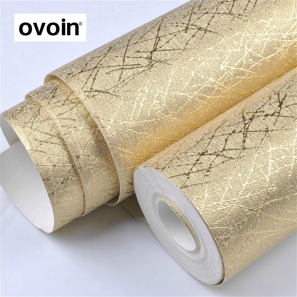 Vinyl Luxury Metallic Glitter Gold Texture Wallpaper Roll Wall Paper