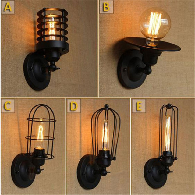 AC100 240 Black Wall Sconces Minimalist Industrial Iron Novelty Hallway  Stairs Bedside Lamp Decorative Wall