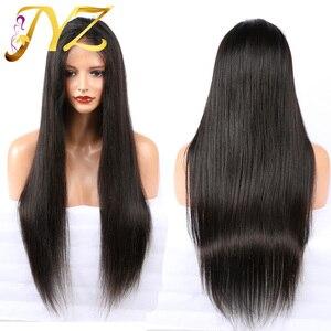 Прямые Синтетические волосы на кружеве парики для черный Для женщин человеческих волос, парики, кружева бразильский человеческих волос пар...