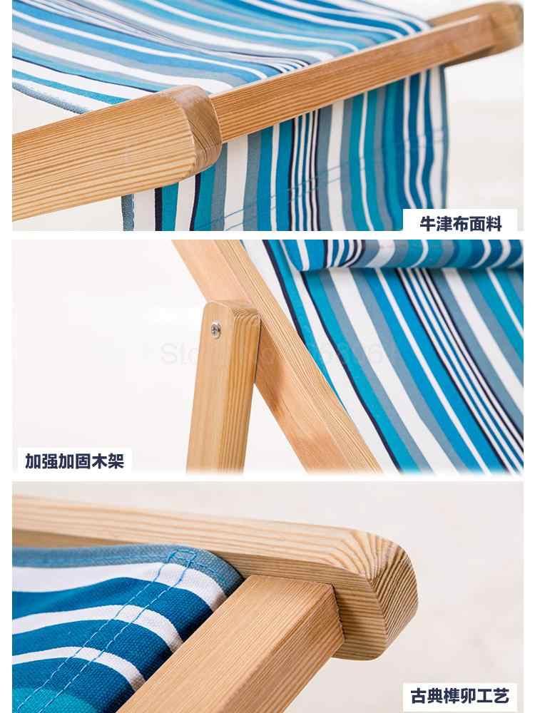 Outdoor Berbaring Kursi Lipat Kanvas Kursi Lipat Kursi Tengah Hari Istirahat Kayu Solid Balkon Outdoor Kolam Renang Musim Panas Dingin Buat Ulang