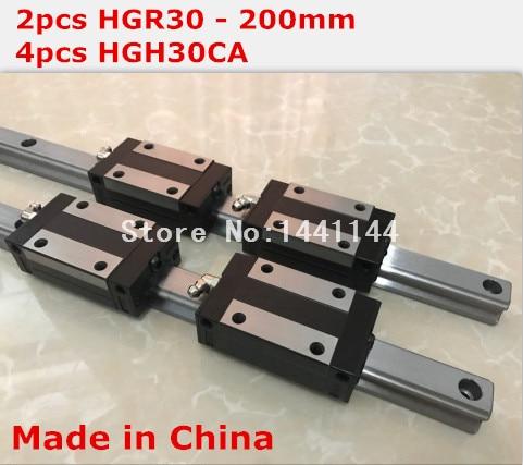 HG linear guide 2pcs HGR30 - 200mm + 4pcs HGH30CA linear block carriage CNC parts hg linear guide 2pcs hgr30 700mm 4pcs hgh30ca linear block carriage cnc parts