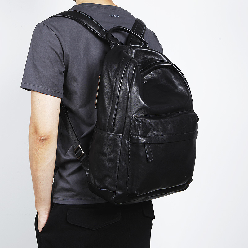 LANSPACE Men's Cow Leather Backpack Fashion Genuine Leather Backpack Casual  Travel Bag
