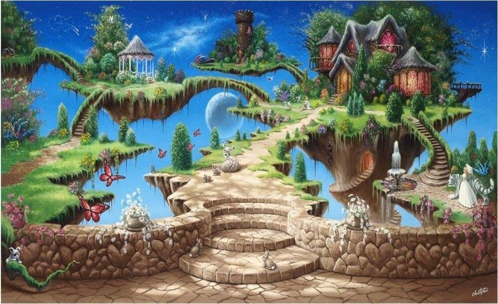 Купить с кэшбэком WDBH custom mural 3d wallpaper fairy tale castle park child room home decoration painting 3d wall murals wallpaper for wall 3 d