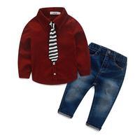 أزياء الأطفال مجموعة ملابس الخريف الربيع الدنيم بدلة طفل الفتيان الأطفال مجموعة القطن طويل الأكمام قمصان + السراويل الجينز + التعادل