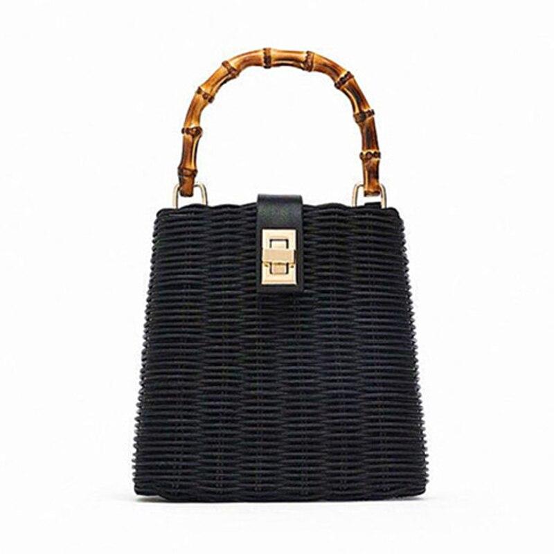 2019 petite boîte perles noir blanc sac de paille portable en bandoulière à la main femme sac de plage-in Sacs à bandoulière from Baggages et sacs    1