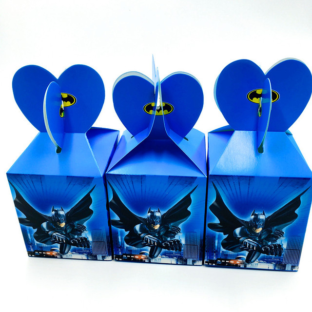 Batman Theme Candy Boxes Kids Birthday Party Gift Give Away Case 6pcs
