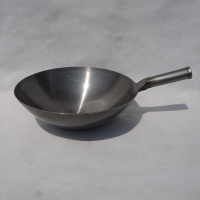 Old fashioned traditional iron wok refined iron pan chinese Wok Round bottom pot frying pan