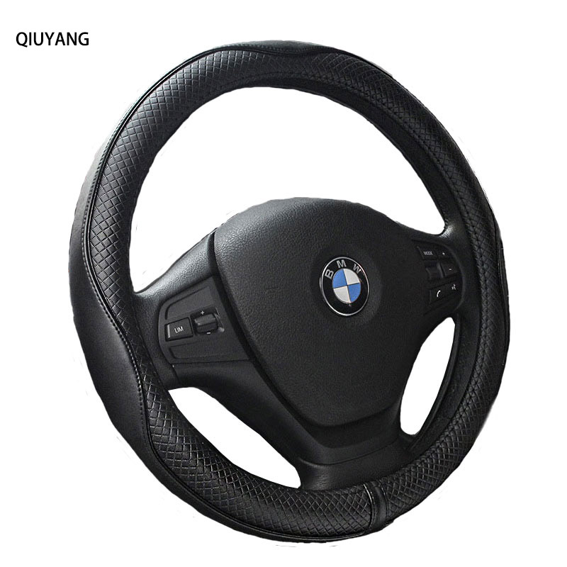 Car Interior Accessories Genuine Leather Steering Wheel Covers Embossed Steering wheel Cover For BMW For CRV For CRV carking diy abs steering wheel covers stickers for bmw mini cooper red blue multi color