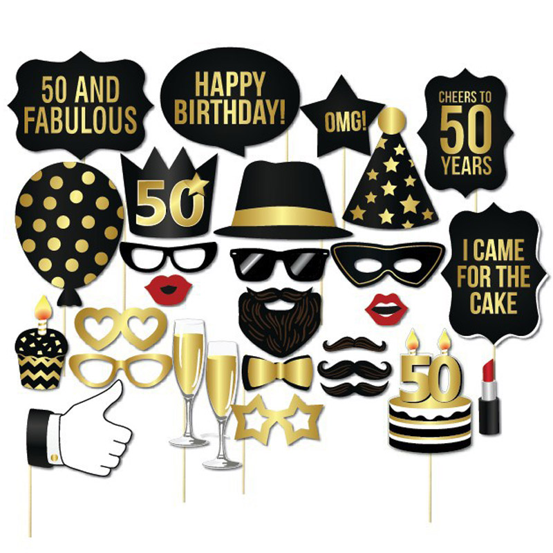 Photo Props Adult 30th Birthday Man Woman Style Moustache Paperboard