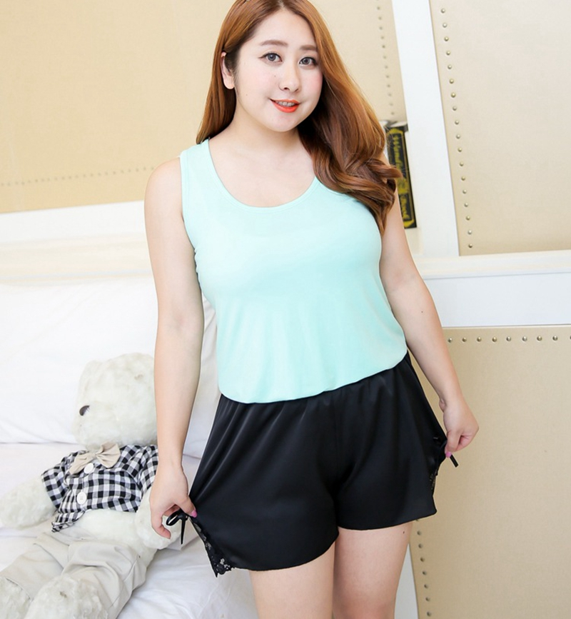 Lace Shorts Large-Size Ribbon Silk Floral Sexy Casual Women Lady Capris