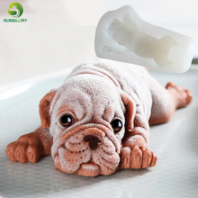 3d Dog Silicone Mold Cake Decoration Shar Pei Fondant Bulldog Soap Molds For Baking DIY Mousse Icecream Jello Pudding Tools