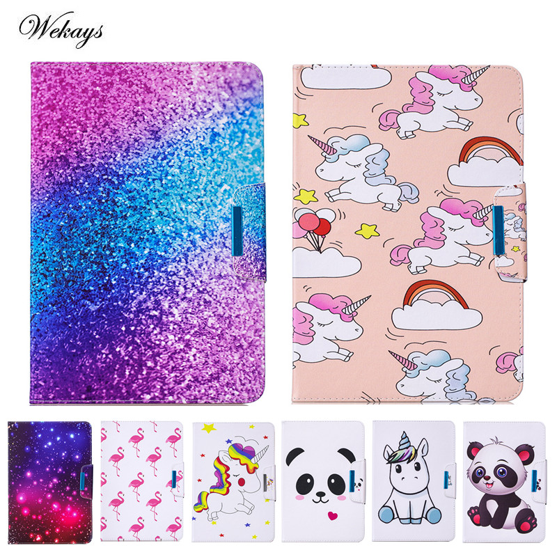 "Competent Wekays 10"" Universal Pu Leather Stand Protector Cover Case For Samsung Amazon 10 Inch Tablet Cartoon Unicorn Protective Shell High Safety"