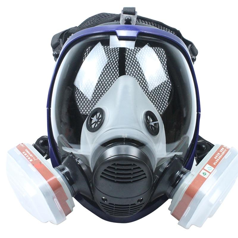 Full Face Gas Mask Chemical Respirator with 6001 Cartridges Against Organic Vapor/Chlorine gas/Benzene KR006 survivair b100600 chemical respirator against mercury vapor and chlorine cartridge free shipping b82705