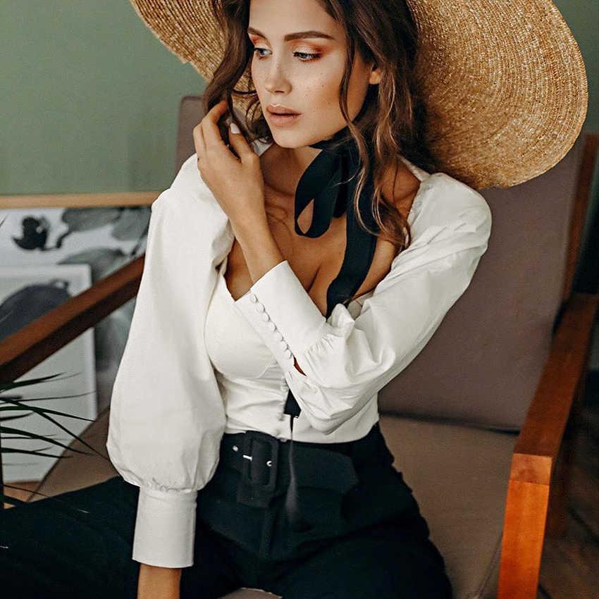 OOTN квадратный воротник белая туника для женщин блузка рубашка Женский Элегантный Лето 2019 г. пикантные топы с рукавами-буффами дамы офисные блузки повседневное