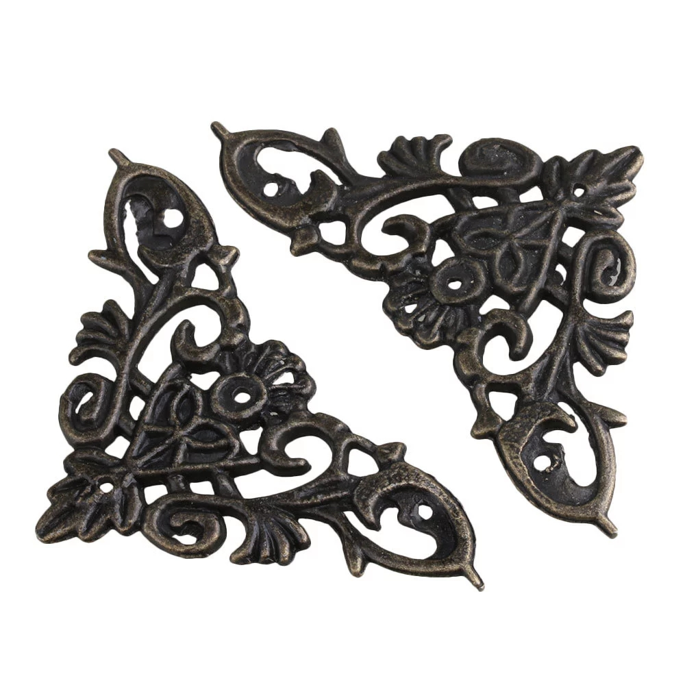 20pcs Bronze Desk Shelf Edge Cover Vintage Style Decor Corner Protector