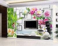 Beibehang Personalizado Papel De Parede Quarto Sala de estar Pintura Mural Precisa Ainda Vida Koi Lírio 3D TV pintura mural Da Parede 3D papel de parede de Bambu