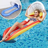 160CM Giant Blue Red Mesh Inflatable Pool Float with Sunshade Lie on Swimming Ring Summer Party Toys Air Mattress Beach Bed boia