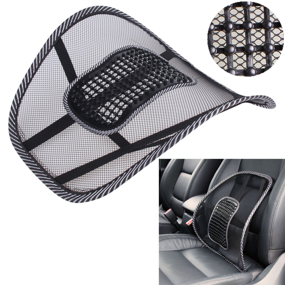 Car Pillow Black Mesh Cloth Car Seat Cushion Lumbar Waist Support Lumbar Pillow Automobiles Office Chair Relief Back Pain