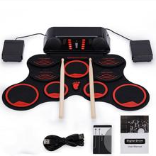 лучшая цена Electronic Drum Roll Up Digital Drum Set Portable Compact 9 Pads Built-in Speaker with Drumsticks Foot Pedal USB Cable Jazz Drum