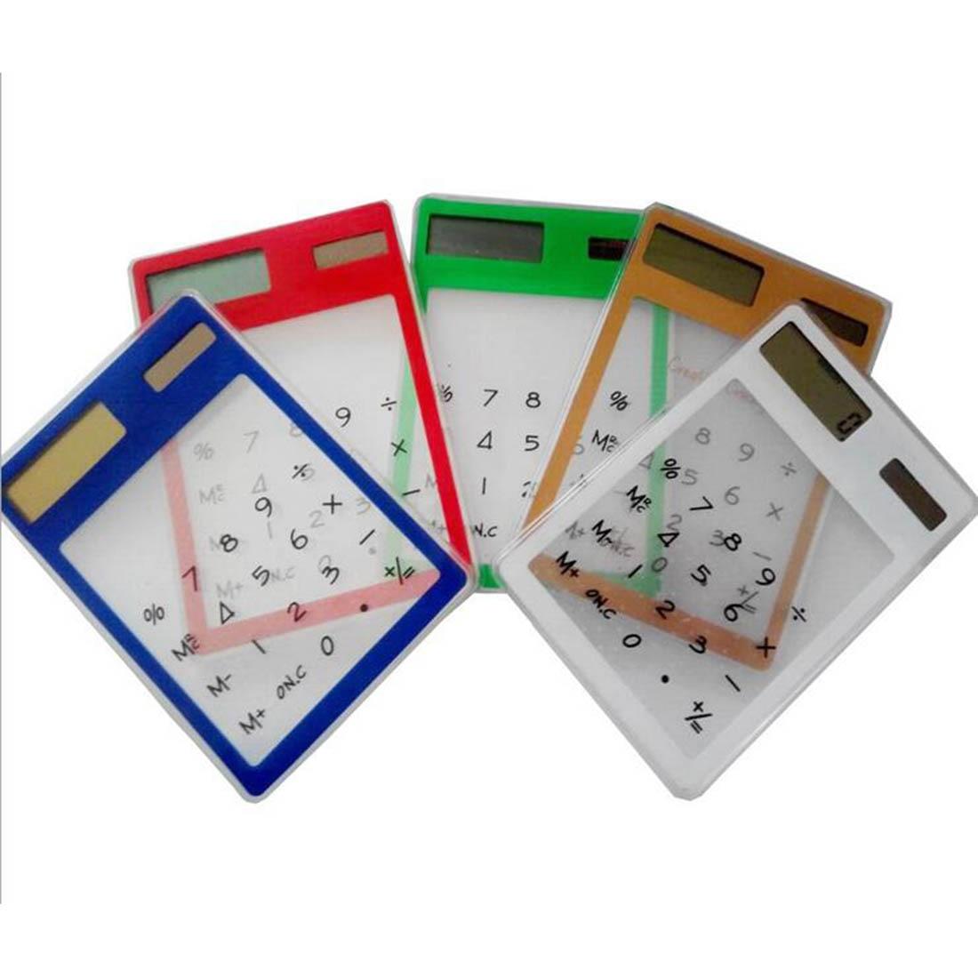 Портативный ЖК-дисплей 8-значный Сенсорный экран ультра тонкий прозрачный солнечный калькулятор ясно научный калькулятор школьные офисные
