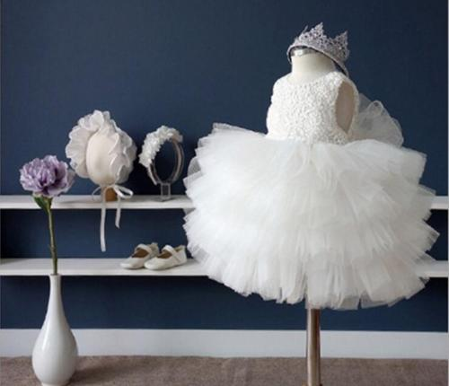 China factory supply white beautiful Flower Girl Dress Communion Party Prom Princess Pageant Bridesmaid Wedding beautiful darkness