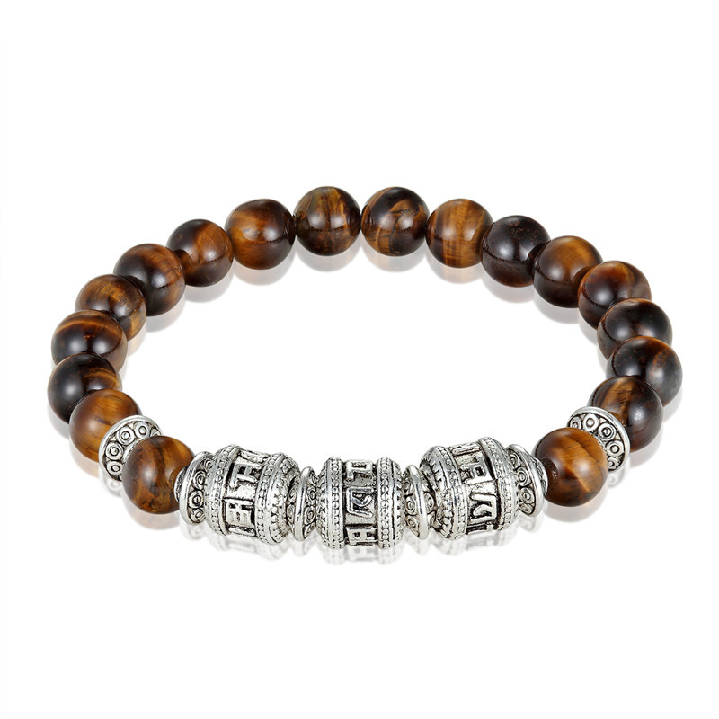 NEW Tiger Eye Fashion Bracelet Men's Natural Stone Six words of mantra Men's Bracelet Women's OM MANI PADME HUM Women's Bracelet
