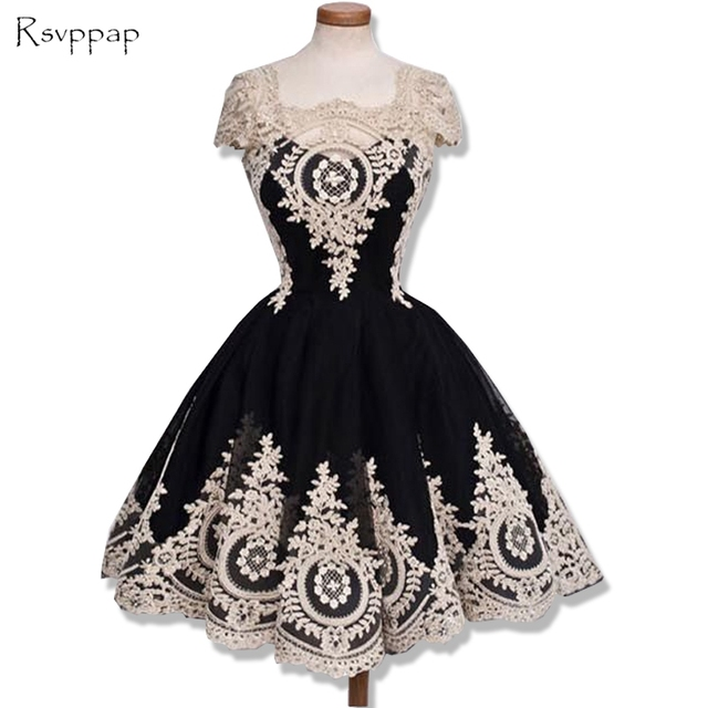 Cute 8th Grade Graduation Dresses A-line Cap Sleeve Gold Lace Sweet Junior  Black Short Homecoming Dress 2019 95705a440