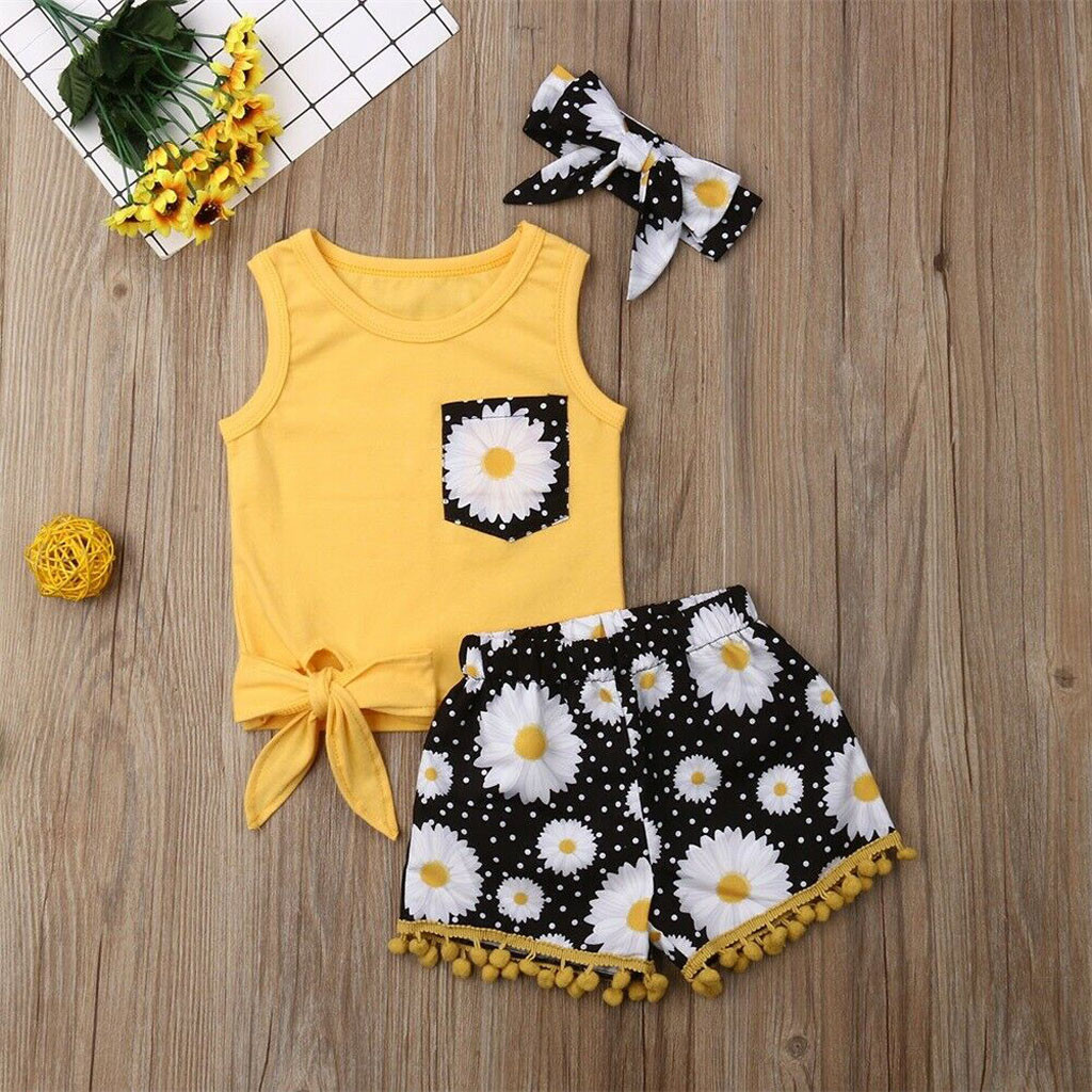 Summer Girls Outfits Shorts Hairband Sunflower Tassel Baby Children 1-2-3-4-Years Bow-Top title=
