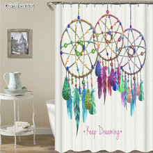 цена на Dream Catcher Pattern African Shower Curtain Rings Bathtub Waterproof Polyester Bath Printing Curtain For Bathroom Accessories
