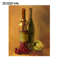 ZOOYA DIY 3D Diamond Painting Hand Embroidery Cross Stitch Crystal Art Craft Creative Gift Red Wine Grapes Apple AT259