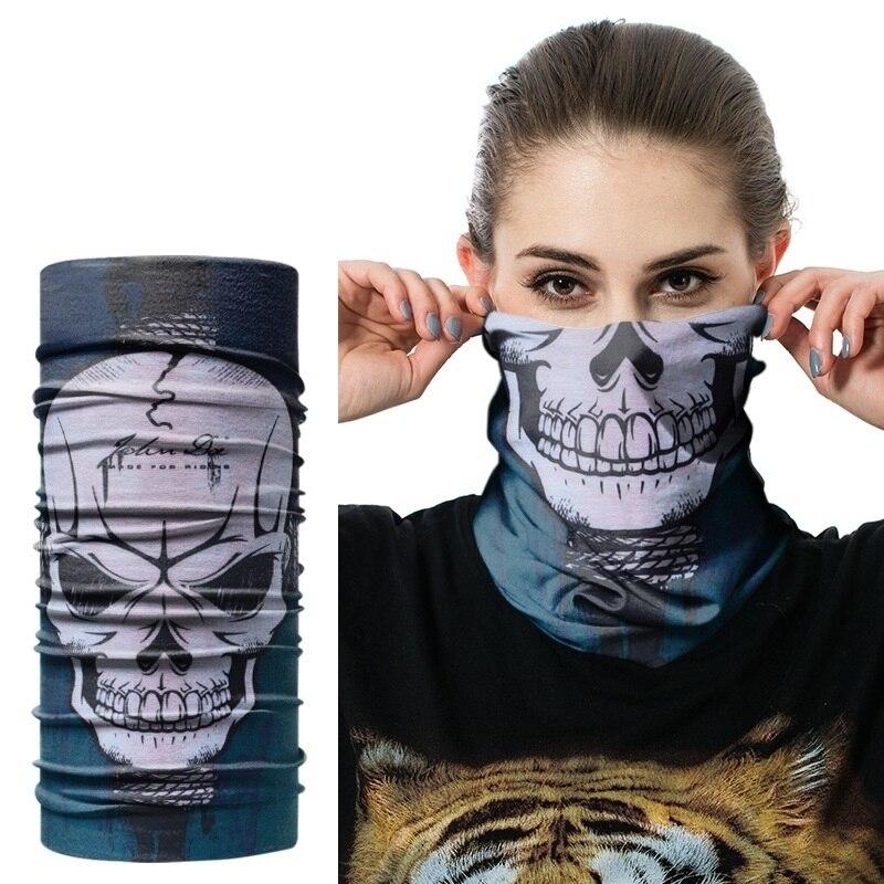 Бандана для рыбалки с черепом, велосипедная повязка на голову для шеи мотоцикла, летняя маска для Хэллоуина, Пейнтбольный мужской мундштук
