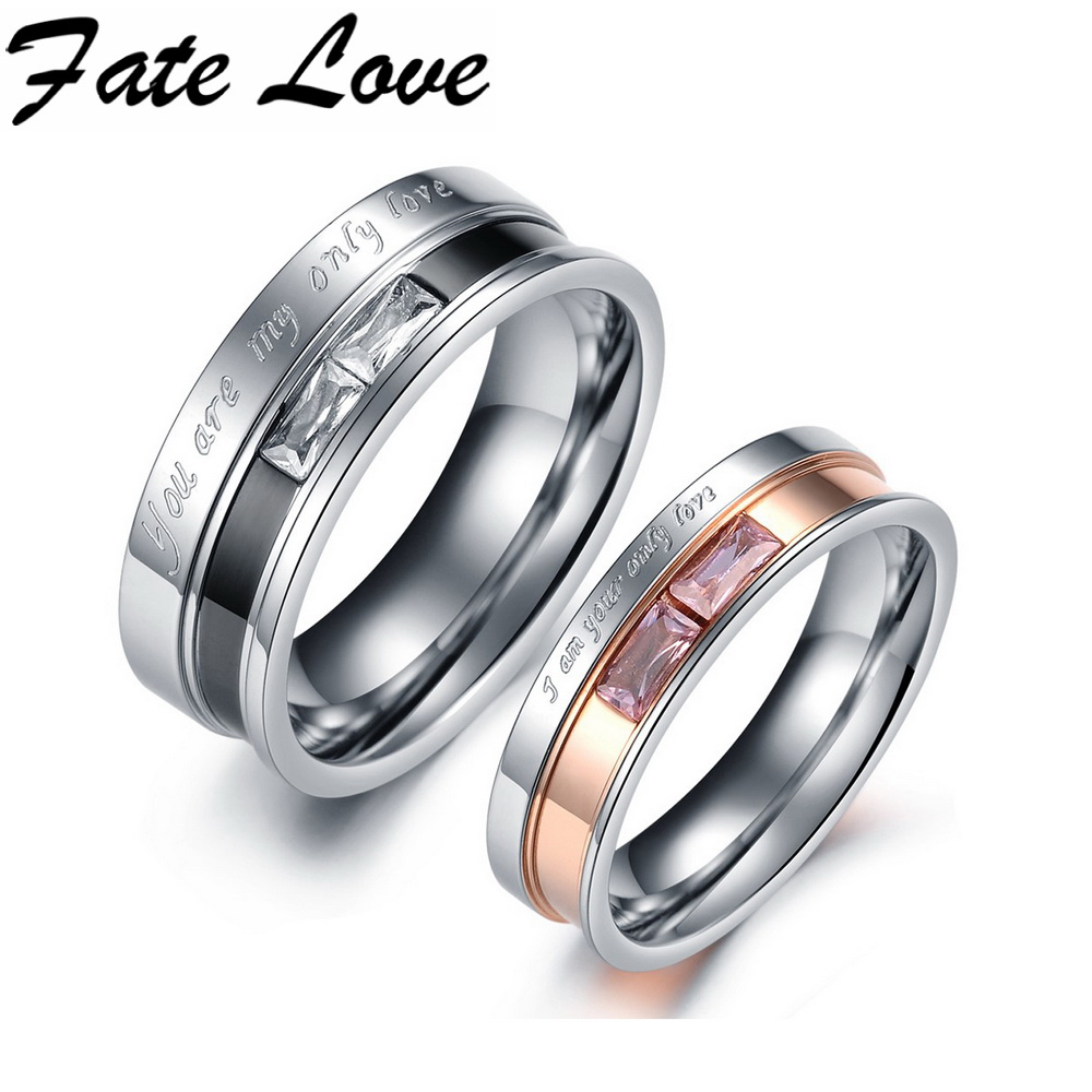 Classic stainless steel crystal couple ring men and women for Wedding rings for male and female